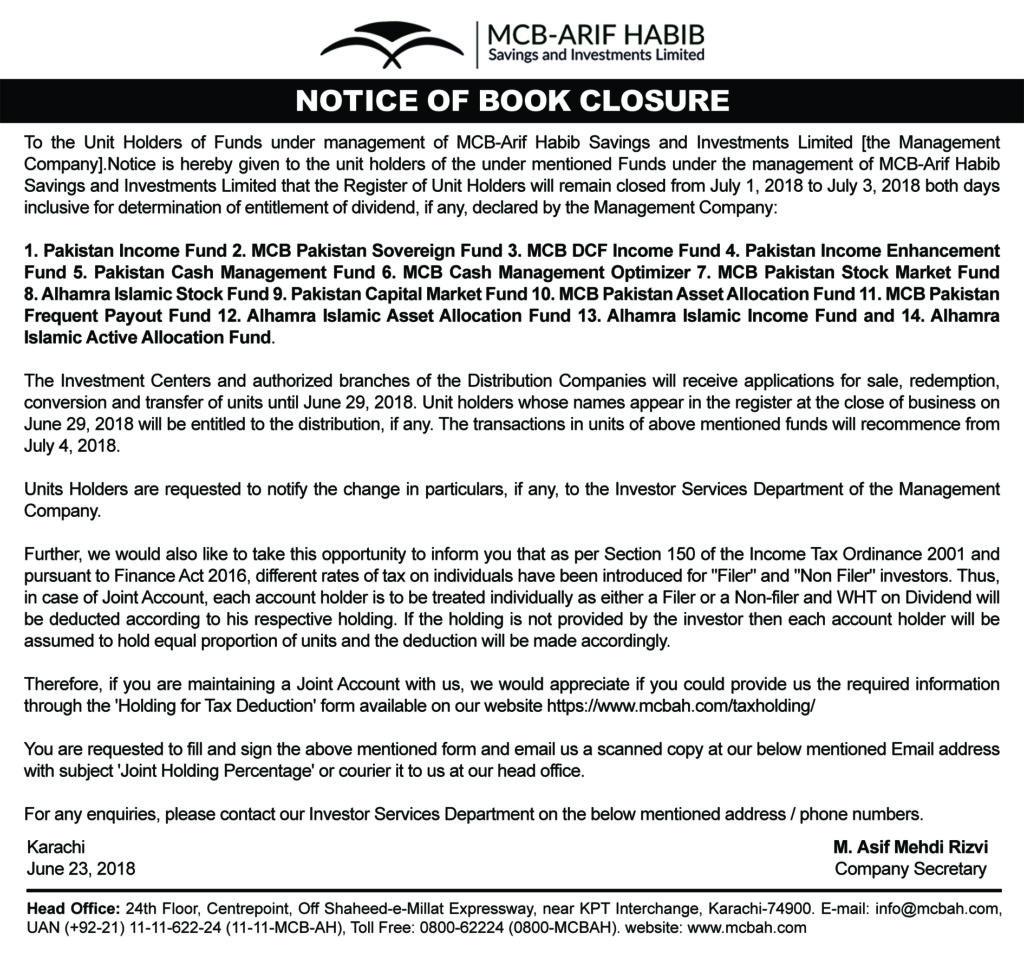Book closure notice Of Funds 2018 - MCB-Arif Habib Savings